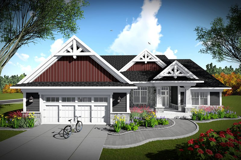 Ranch Exterior - Front Elevation Plan #70-1464