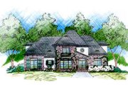 European Style House Plan - 4 Beds 3.5 Baths 2688 Sq/Ft Plan #36-446 Exterior - Front Elevation