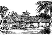 Mediterranean Style House Plan - 3 Beds 2 Baths 1396 Sq/Ft Plan #417-116 Exterior - Front Elevation