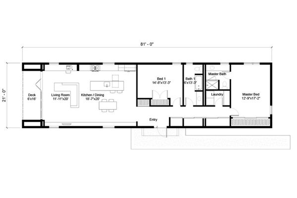 Modern Floor Plan - Main Floor Plan Plan #497-25
