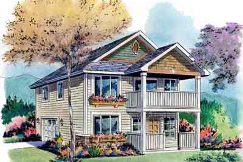 Craftsman Style House Plan - 2 Beds 1.5 Baths 1128 Sq/Ft Plan #18-320 Exterior - Front Elevation