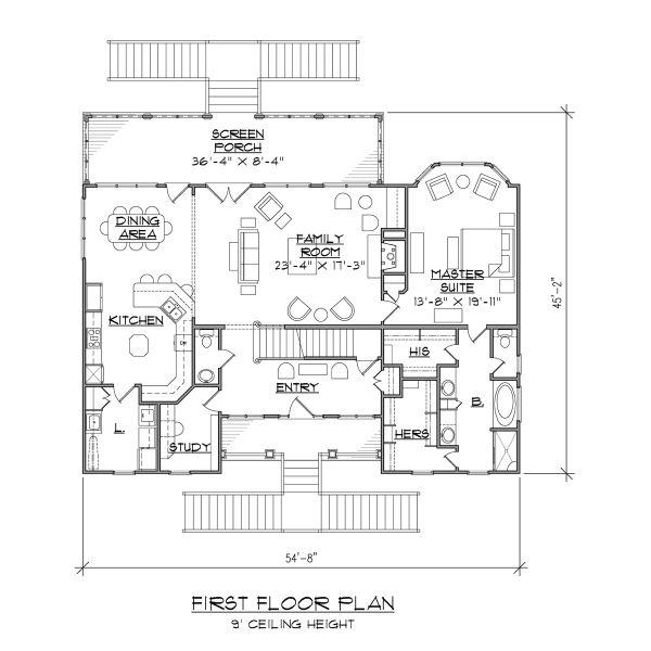 Beach Floor Plan - Main Floor Plan Plan #1054-68