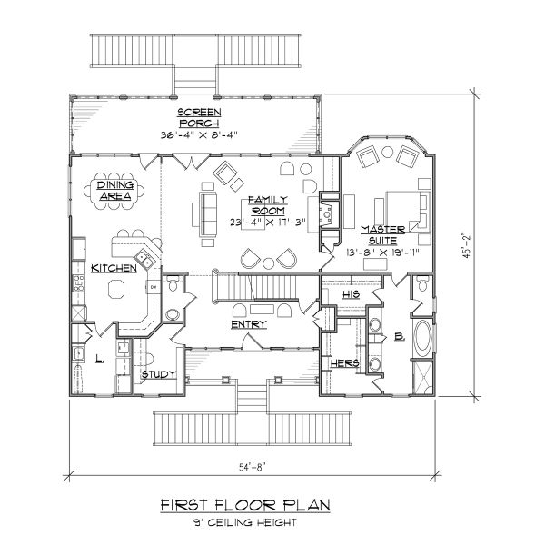 Dream House Plan - Beach Floor Plan - Main Floor Plan #1054-68