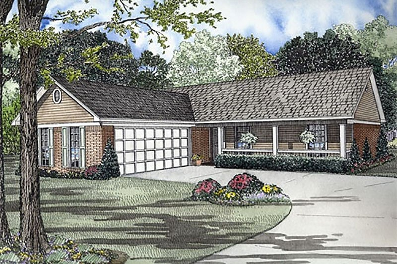 Ranch Style House Plan - 3 Beds 2 Baths 1224 Sq/Ft Plan #17-2138 Exterior - Front Elevation