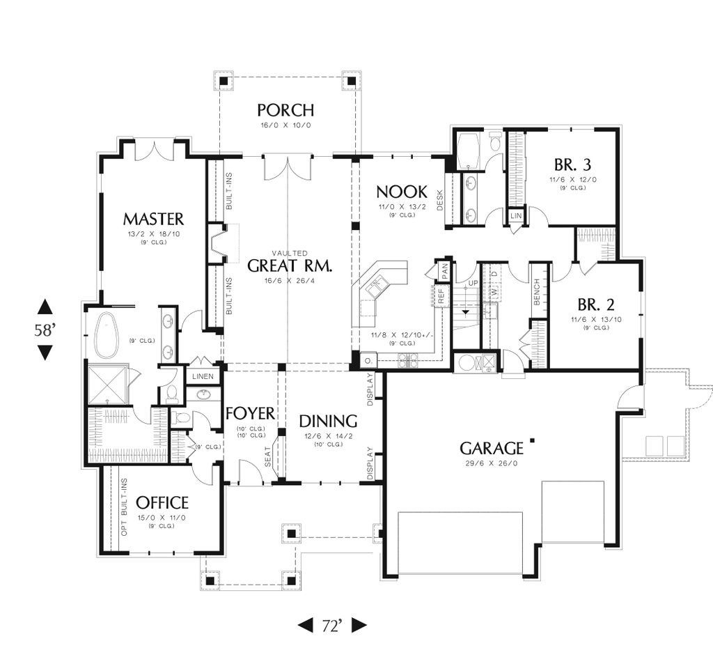 Craftsman style house plan 3 beds 2 5 baths 2735 sq ft for Craftsman style bed plans