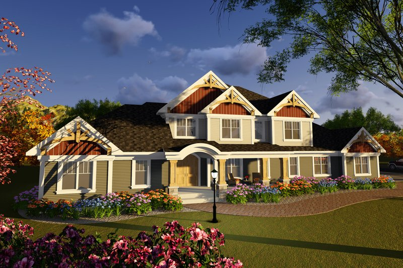 Craftsman Style House Plan - 4 Beds 3.5 Baths 3561 Sq/Ft Plan #70-1254 Exterior - Front Elevation