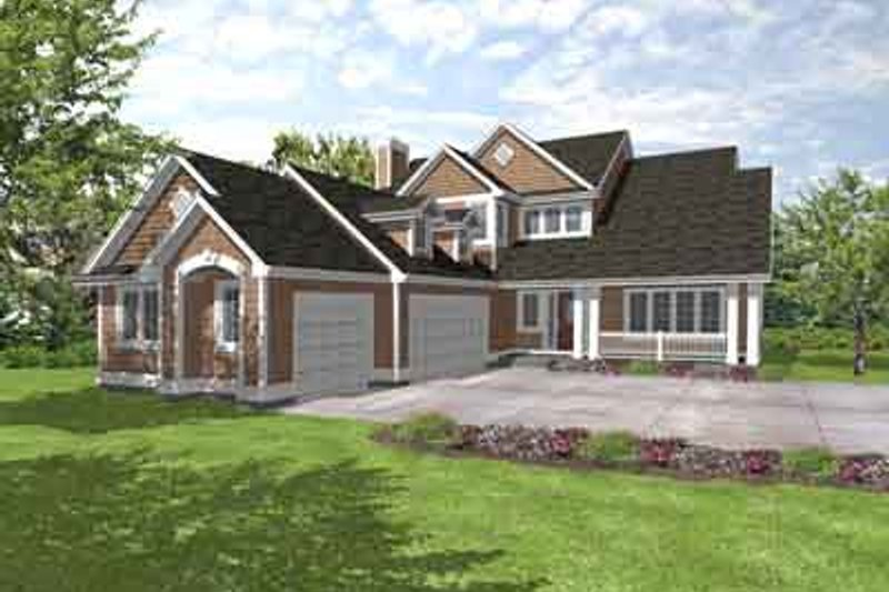 Craftsman Style House Plan - 4 Beds 2.5 Baths 2381 Sq/Ft Plan #50-239 Exterior - Front Elevation