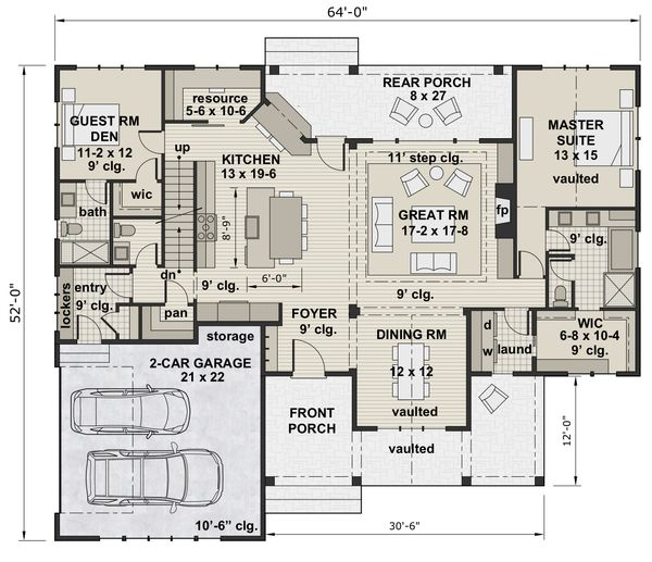 Architectural House Design - Farmhouse Floor Plan - Main Floor Plan #51-1140