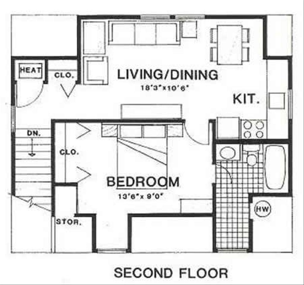 1 Beds 1 Baths 450 Sq/Ft Plan
