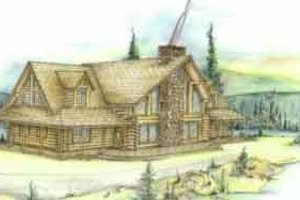 Log Exterior - Front Elevation Plan #117-101
