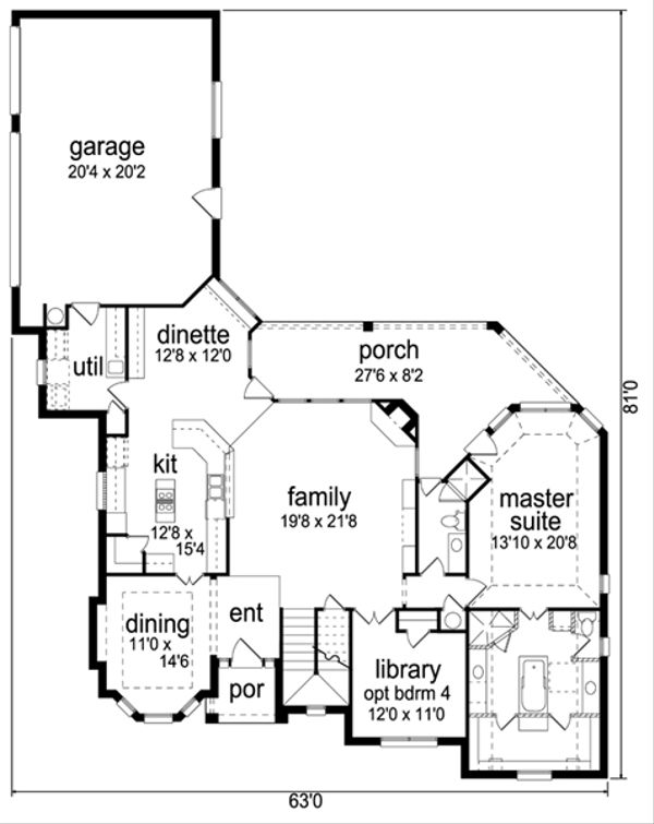 Traditional Floor Plan - Main Floor Plan Plan #84-556
