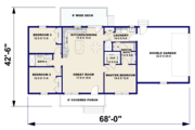 Ranch Style House Plan - 3 Beds 2 Baths 1311 Sq/Ft Plan #44-239 Floor Plan - Main Floor