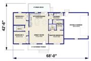 Ranch Style House Plan - 3 Beds 2 Baths 1311 Sq/Ft Plan #44-239 Floor Plan - Main Floor Plan