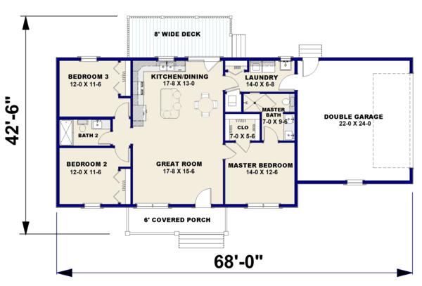 Dream House Plan - Ranch Floor Plan - Main Floor Plan #44-239