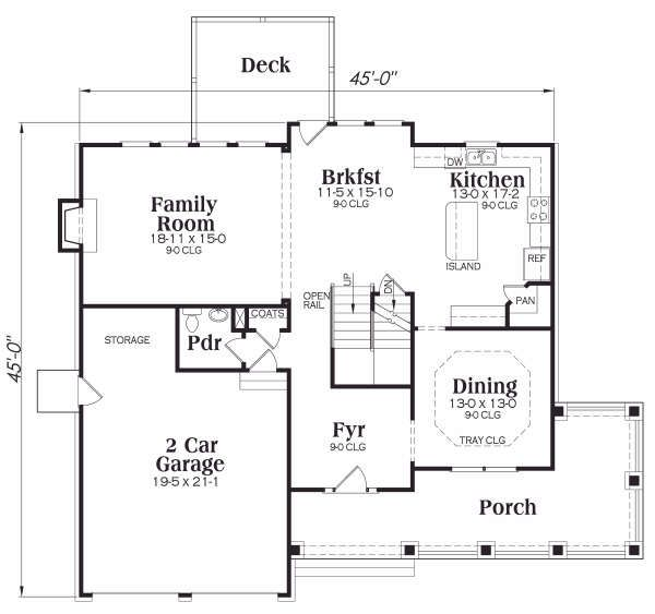 Architectural House Design - Country Floor Plan - Main Floor Plan #419-181