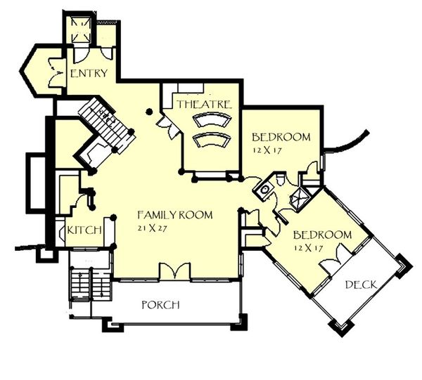 Craftsman Floor Plan - Lower Floor Plan Plan #921-26