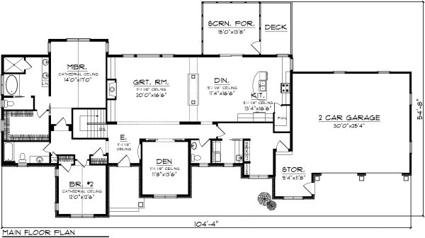Ranch Floor Plan - Main Floor Plan Plan #70-1140