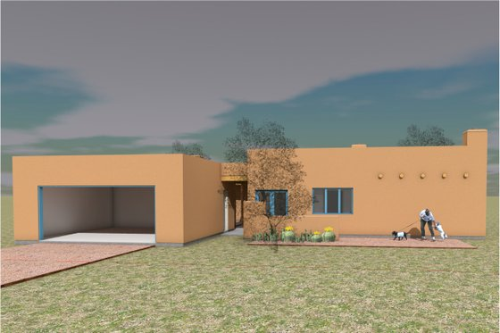 Adobe / Southwestern Exterior - Front Elevation Plan #450-9