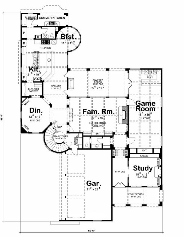 European Floor Plan - Main Floor Plan Plan #20-2171