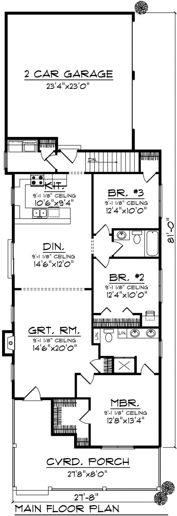House Design - Ranch Floor Plan - Main Floor Plan #70-1023