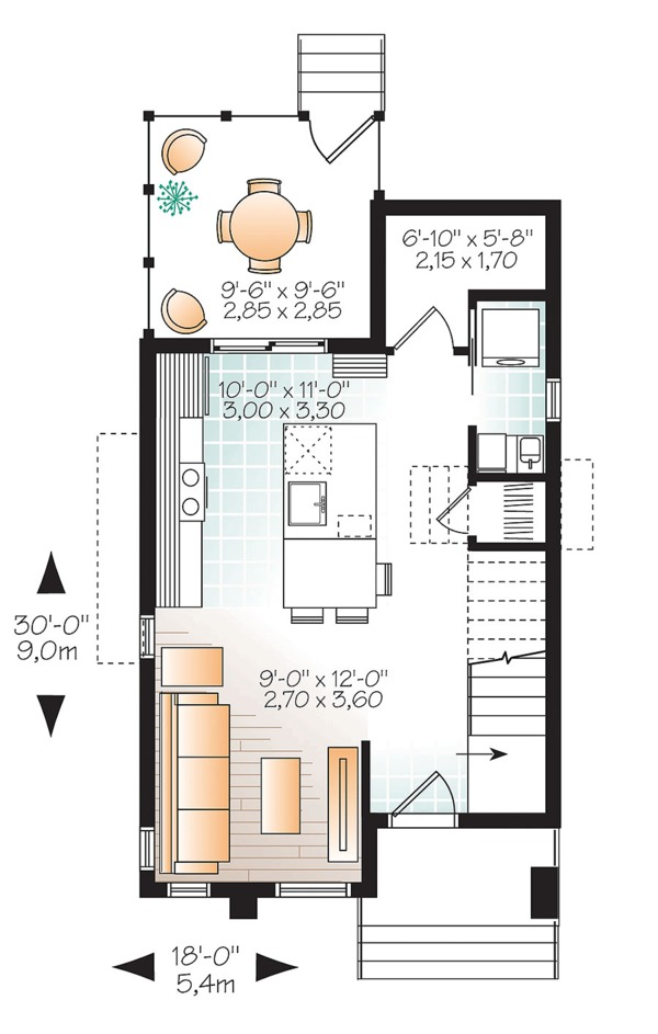 Contemporary Floor Plan - Main Floor Plan Plan #23-2612