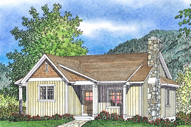Cottage Exterior - Front Elevation Plan #22-574