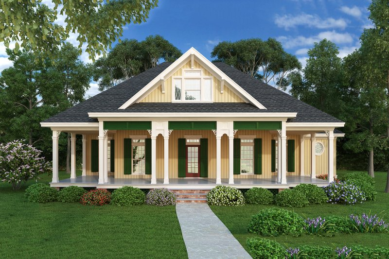 Cottage Style House Plan - 3 Beds 2 Baths 1516 Sq/Ft Plan #45-378 Exterior - Front Elevation