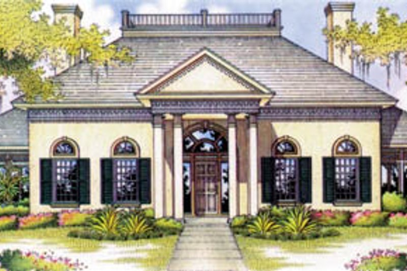 European Exterior - Front Elevation Plan #45-166