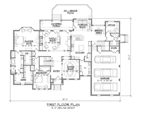 Traditional Floor Plan - Main Floor Plan Plan #1054-83