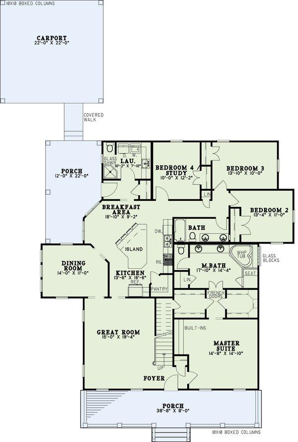 Dream House Plan - Southern Floor Plan - Main Floor Plan #17-1026
