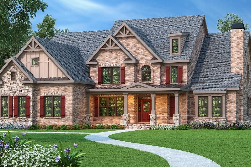 Traditional Style House Plan - 5 Beds 4.5 Baths 4139 Sq/Ft Plan #419-102 Exterior - Front Elevation