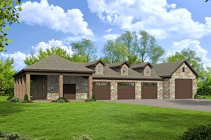 Country Exterior - Front Elevation Plan #932-211