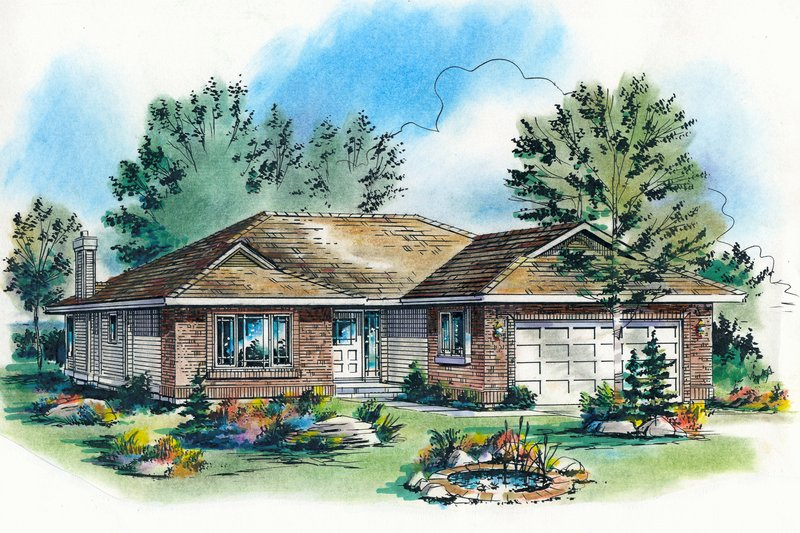 Traditional Style House Plan - 3 Beds 2 Baths 1325 Sq/Ft Plan #18-1028 Exterior - Front Elevation