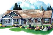 Ranch Style House Plan - 3 Beds 3 Baths 1798 Sq/Ft Plan #18-4521 Exterior - Front Elevation