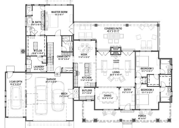 Farmhouse Floor Plan - Main Floor Plan Plan #1069-19