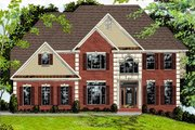 European Style House Plan - 5 Beds 4 Baths 3135 Sq/Ft Plan #56-212 Exterior - Front Elevation