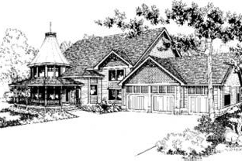 Victorian Style House Plan - 6 Beds 3.5 Baths 3420 Sq/Ft Plan #60-312 Exterior - Front Elevation