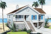 Beach Style House Plan - 3 Beds 2 Baths 1297 Sq/Ft Plan #312-718 Exterior - Front Elevation