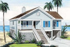 Beach Exterior - Front Elevation Plan #312-718