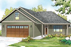 Ranch Exterior - Front Elevation Plan #124-879