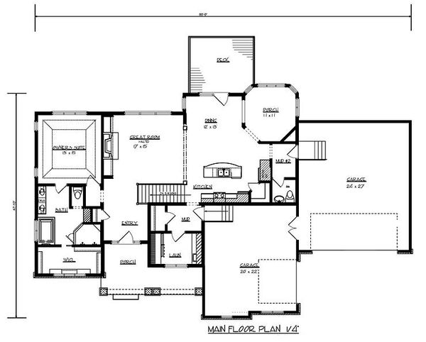 Craftsman Floor Plan - Main Floor Plan Plan #320-489