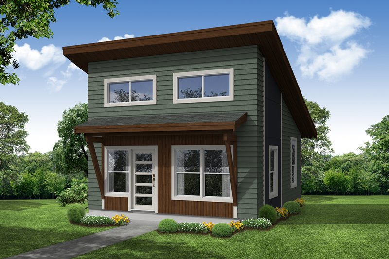 Modern Style House Plan - 1 Beds 1 Baths 460 Sq/Ft Plan #124-1199 Exterior - Front Elevation