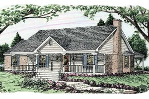 Southern Exterior - Front Elevation Plan #406-242