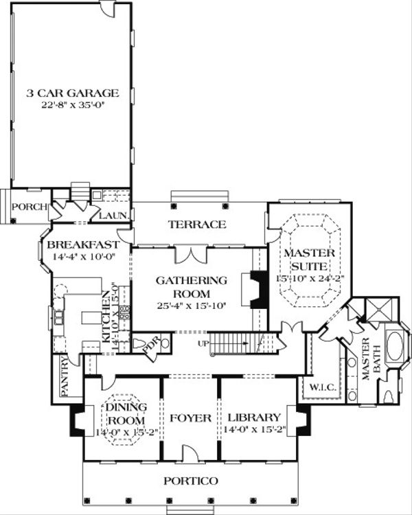Country Floor Plan - Main Floor Plan Plan #453-16