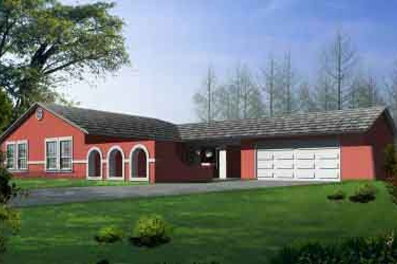 Mediterranean Style House Plan - 3 Beds 2 Baths 1521 Sq/Ft Plan #1-1275 Exterior - Front Elevation