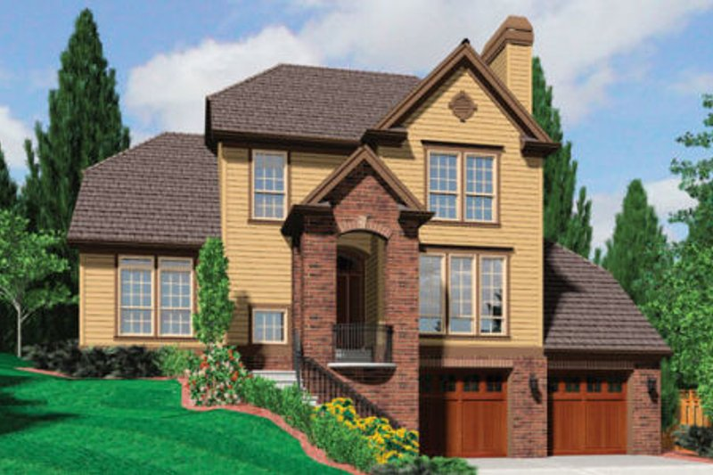 European Style House Plan - 4 Beds 3 Baths 2206 Sq/Ft Plan #48-398