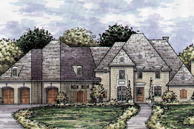 European Style House Plan - 5 Beds 4.5 Baths 4211 Sq/Ft Plan #141-356 Exterior - Front Elevation