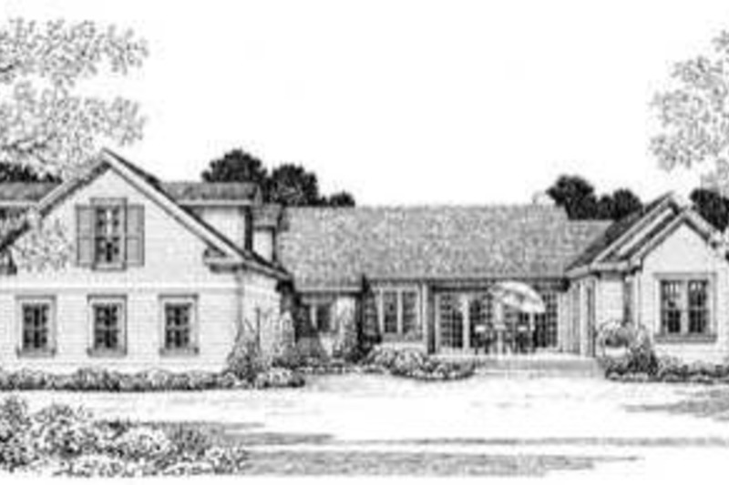 Country Exterior - Rear Elevation Plan #72-122 - Houseplans.com
