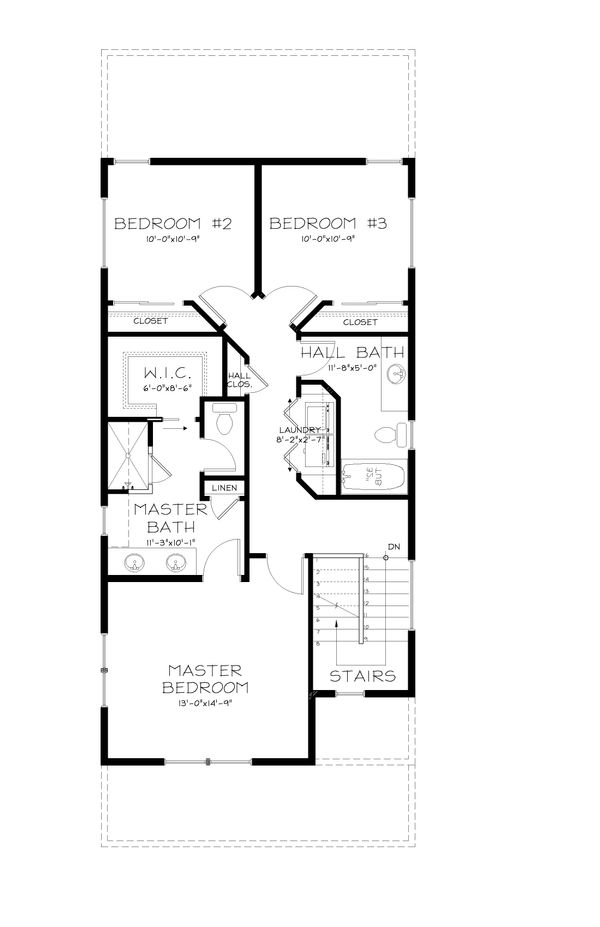 Craftsman Style House Plan - 3 Beds 2.5 Baths 1693 Sq/Ft Plan #895-6 Floor Plan - Upper Floor Plan