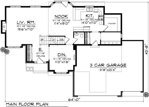 Ranch Floor Plan - Main Floor Plan Plan #70-1033